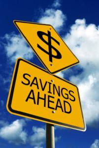 Savings Ahead Road Sign