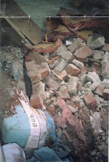 Northridge 1994 earthquake Woodland Hills My Brother Pete's Bed seconds after he got out of the way