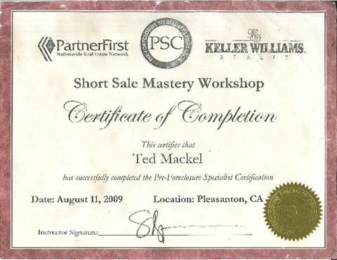 Short Sale Certificate